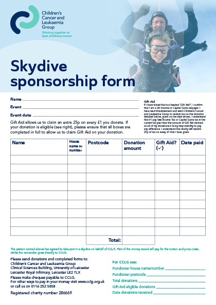 Download fundraising materials – Blank Sponsorship Forms