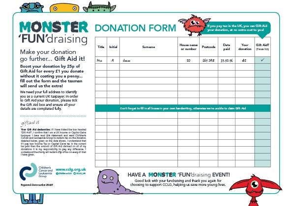 Monster FUNdraising Donation Form